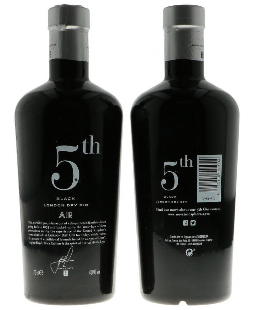 5th Gin Black Air 70cl 40 % vol 19,50€