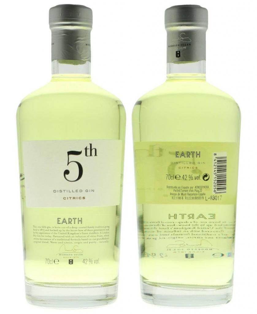 5th Gin Yellow Earth 70cl 42 % vol 19,95€